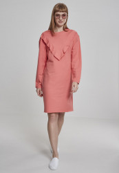 Dámske šaty URBAN CLASSICS Ladies Terry Volant Dress coral