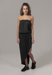 Dámske šaty URBAN CLASSICS Ladies Viscose Bandeau Dress čierne