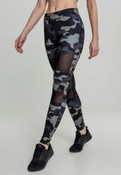 Dámske športové legíny URBAN CLASSICS Ladies Camo Tech Mesh Leggings darkcamo/blk