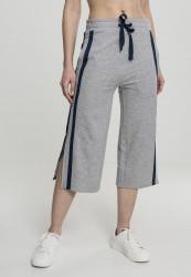 Dámske teplákové nohavice URBAN CLASSICS Ladies Taped Terry Culotte black/whitegrey/navy