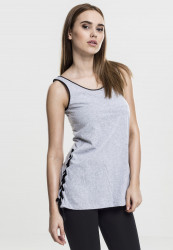 Dámske tielko Urban Classics Ladies Leather Imitation Side Knotted Tank gry/blk Size US: L, Méret UK: dámske