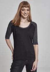 Dámske tričko s krátkym rukávom Urban Classics Ladies 3/4 Contrast Raglan Tee black/charcoal