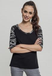 Dámske tričko s krátkym rukávom Urban Classics Ladies 3/4 Contrast Raglan Tee black/darkcamo
