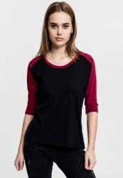 Dámske tričko s krátkym rukávom Urban Classics Ladies 3/4 Contrast Raglan Tee blk/burgundy