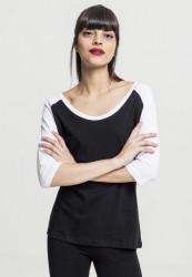 Dámske tričko s krátkym rukávom Urban Classics Ladies 3/4 Contrast Raglan Tee blk/wht