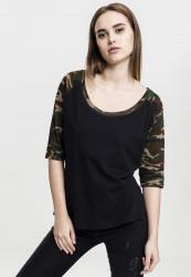 Dámske tričko s krátkym rukávom Urban Classics Ladies 3/4 Contrast Raglan Tee blk/woodcamo