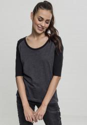 Dámske tričko s krátkym rukávom Urban Classics Ladies 3/4 Contrast Raglan Tee charcoal/black