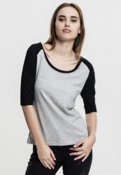 Dámske tričko s krátkym rukávom Urban Classics Ladies 3/4 Contrast Raglan Tee gry/blk