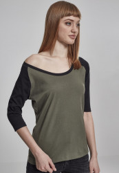 Dámske tričko s krátkym rukávom Urban Classics Ladies 3/4 Contrast Raglan Tee olive/black