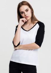 Dámske tričko s krátkym rukávom Urban Classics Ladies 3/4 Contrast Raglan Tee wht/blk