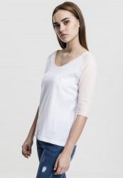 Dámske tričko s krátkym rukávom Urban Classics Ladies 3/4 Contrast Raglan Tee wht/pink