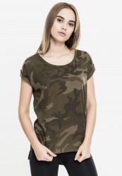Dámske tričko s krátkym rukávom Urban Classics Ladies Camo Back Shaped Tee olive camo
