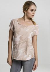 Dámske tričko s krátkym rukávom Urban Classics Ladies Camo Back Shaped Tee rose camo