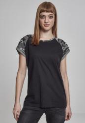 Dámske tričko s krátkym rukávom Urban Classics Ladies Contrast Raglan Tee black/darkcamo