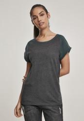 Dámske tričko s krátkym rukávom Urban Classics Ladies Contrast Raglan Tee charcoal/bottlegreen