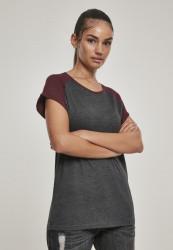 Dámske tričko s krátkym rukávom Urban Classics Ladies Contrast Raglan Tee charcoal/redwine