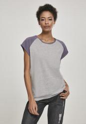 Dámske tričko s krátkym rukávom Urban Classics Ladies Contrast Raglan Tee grey/dustypurple