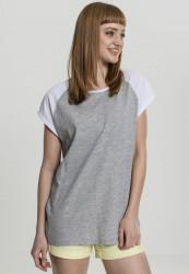 Dámske tričko s krátkym rukávom Urban Classics Ladies Contrast Raglan Tee grey/white