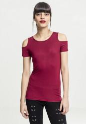 Dámske tričko s krátkym rukávom Urban Classics Ladies Cutted Shoulder Tee burgundy