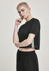 Dámske tričko s krátkym rukávom Urban Classics Ladies Multicolor Side Taped Tee čierne