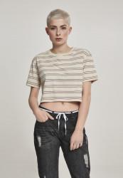 Dámske tričko s krátkym rukávom Urban Classics Ladies Short Multicolor Stripe Tee sand/black/white/firered