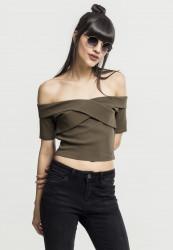 Dámske tričko Urban classics Ladies Off Shoulder Cross Rib Tee olivové