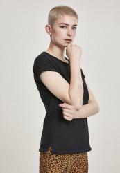 Dámske tričko Urban Classics Ladies Pigment Dye Cut Open Tee black