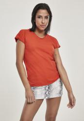 Dámske tričko Urban Classics Ladies Pigment Dye Cut Open Tee bloodorange