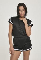 Dámske tričko Urban Classics Ladies Short Extended Shoulder Stripes Mesh Tee black
