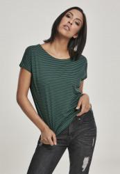 Dámske tričko Urban Classics Ladies Yarn Dyed Baby Stripe Tee darkfreshgreen/black