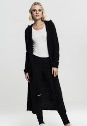 Dámsky čierny sveter Urban Classics Ladies Hooded Feather Cardigan