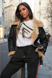 Dámsky kabát Sixth June faux leather sheep fur Perfecto black