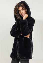 Dámsky kabát URBAN CLASSICS Ladies Hooded Teddy Coat black