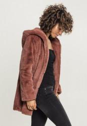 Dámsky kabát URBAN CLASSICS Ladies Hooded Teddy Coat darkrose #1