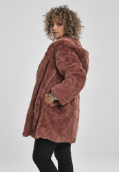 Dámsky kabát URBAN CLASSICS Ladies Hooded Teddy Coat darkrose #1