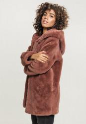 Dámsky kabát URBAN CLASSICS Ladies Hooded Teddy Coat darkrose #2