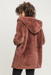 Dámsky kabát URBAN CLASSICS Ladies Hooded Teddy Coat darkrose #3