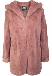 Dámsky kabát URBAN CLASSICS Ladies Hooded Teddy Coat darkrose #6