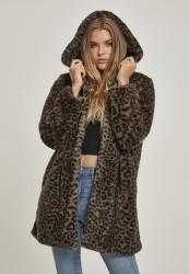 Dámsky kabát URBAN CLASSICS Ladies Leo Teddy Coat darkolive leo