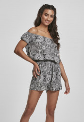 Dámsky overal URBAN CLASSICS Ladies AOP Off Shoulder Short Jumpsuit bandana