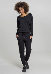 Dámsky overal URBAN CLASSICS Ladies Long Sleeve Terry Jumpsuit black