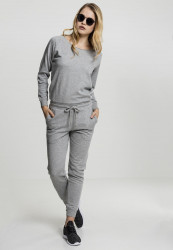 Dámsky overal URBAN CLASSICS Ladies Long Sleeve Terry Jumpsuit grey