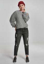 Dámsky pulóver URBAN CLASSICS Ladies Oversize Stripe Pullover black/white