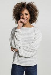 Dámsky pulóver URBAN CLASSICS Ladies Oversize Stripe Pullover grey/white