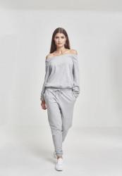 Dámsky sivý overal URBAN CLASSICS Ladies Cold Shoulder Terry Jumpsuit XL