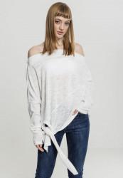 Dámsky sveter Urban Classics Ladies Asymmetric Sweater biely