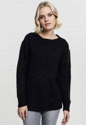 Dámsky sveter Urban Classics Ladies Basic Crew Sweater čierny