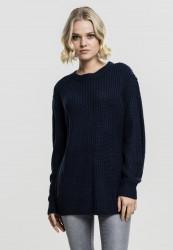 Dámsky sveter Urban Classics Ladies Basic Crew Sweater modrý