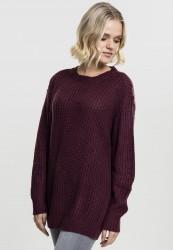 Dámsky sveter Urban Classics Ladies Basic Crew Sweater višňová