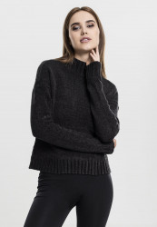Dámsky sveter URBAN CLASSICS LADIES CHENILLE TURTLENECK CREW BLACK